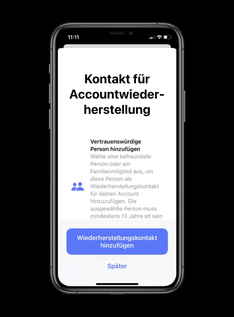Apple-Konto-Wiederherstellungskontakte iOS 15