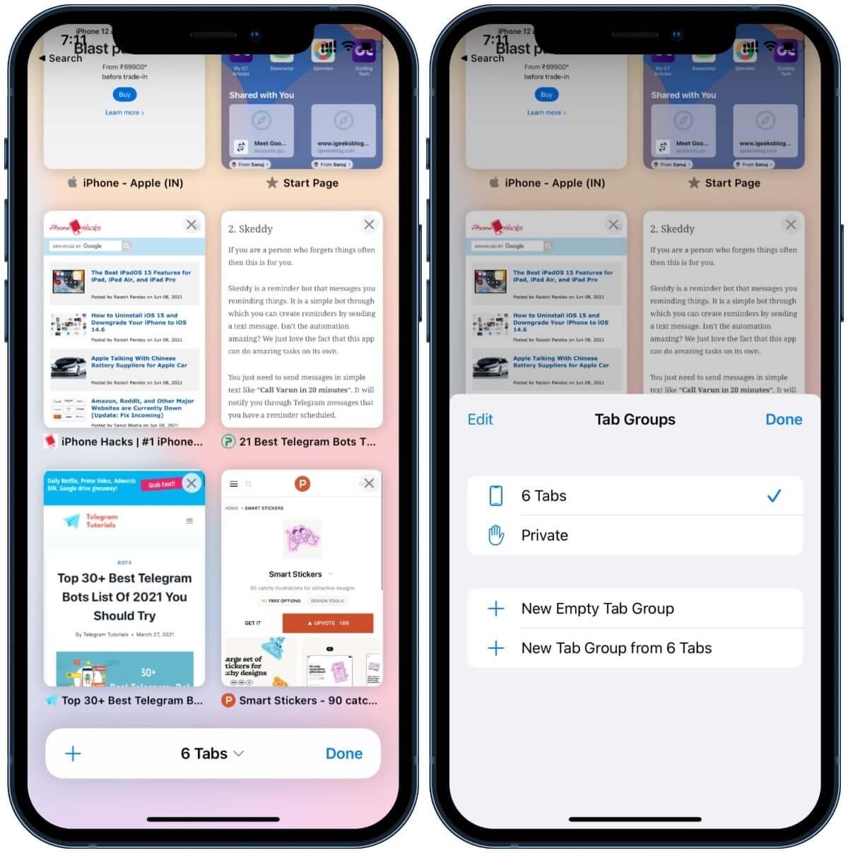 Tab-Gruppen in Safari iOS 15