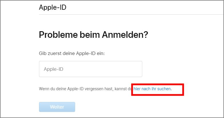 Apple ID zurückfinden