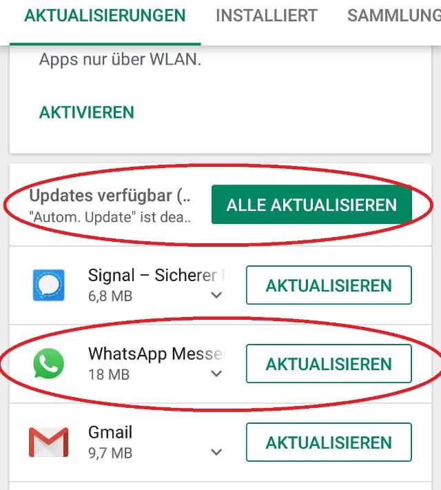 WhatsApp aktualisieren