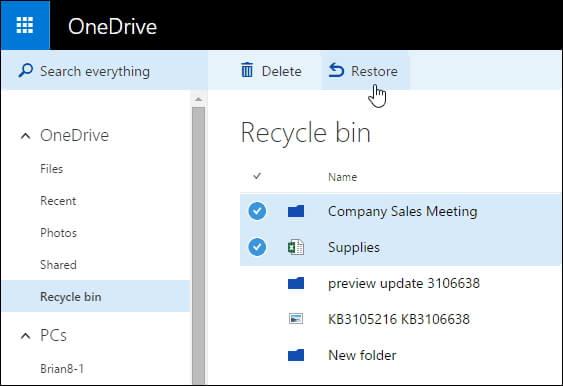 Gelöschte Dateien über OneDrive aus dem Papierkorb wiederherstellen