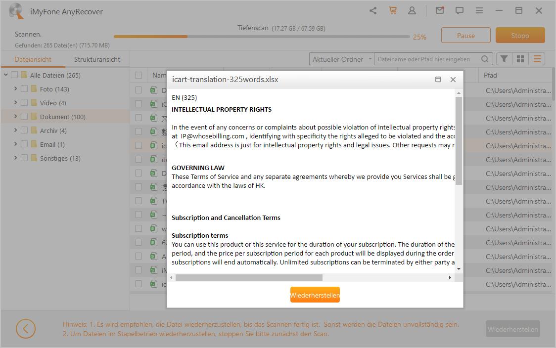 Überschriebene Excel-Datei wiederhestellen