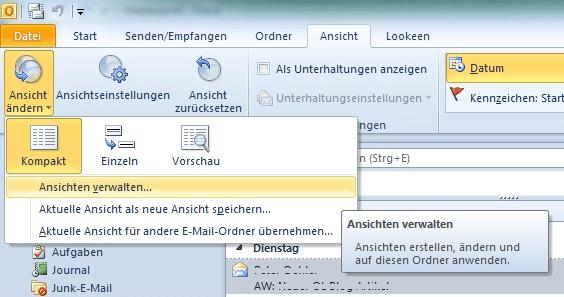 Outlook 2003 Ansicht verwalten