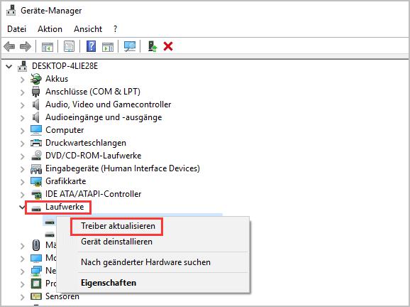 Treiber unter Windows aktualisieren