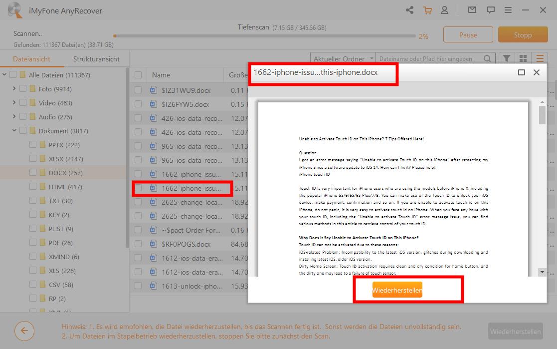 die überschriebe Word-Datei wiederherstellen