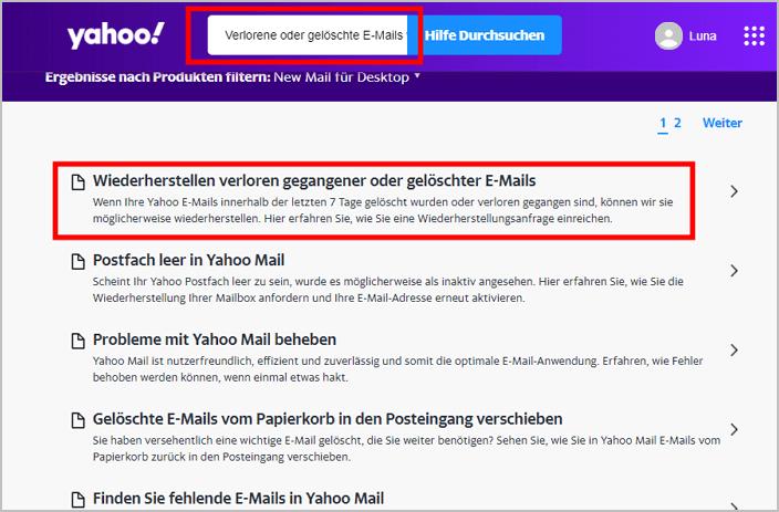 Wiederherstellungsantrag Yahoo-E-Mail senden