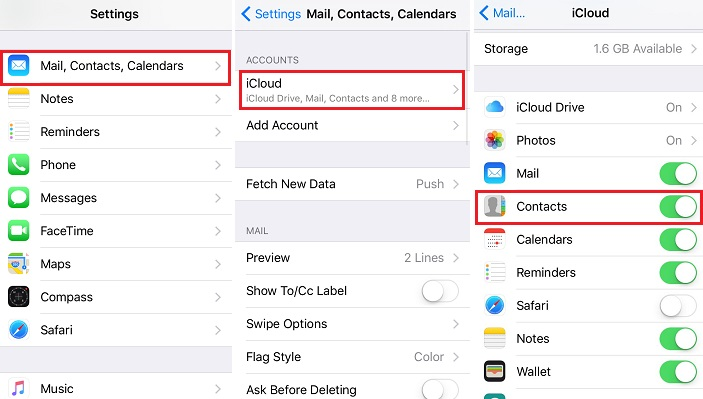 Turn iCloud Contacts Off