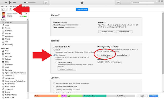 use itunes to backup iphone