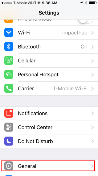 go to general settings