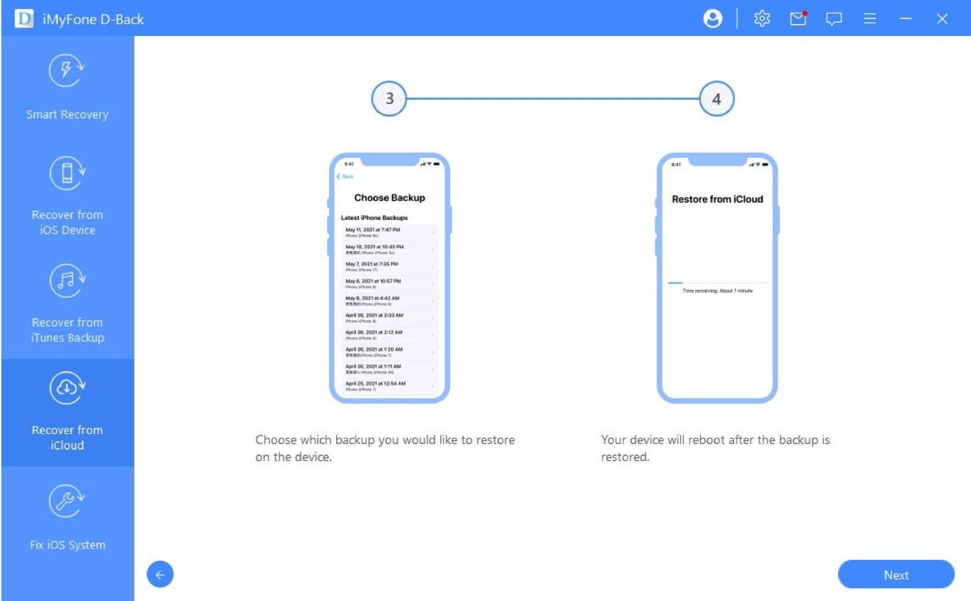 iCloud backup wählen