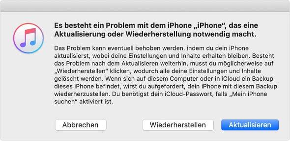 es besteht ein Problem mit dem iPhone