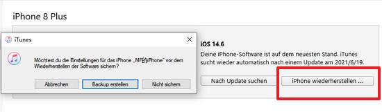 iPhone wiederherstellen via iTunes
