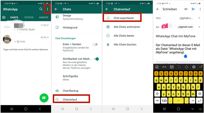 WhatsApp Chats vom Android exportieren