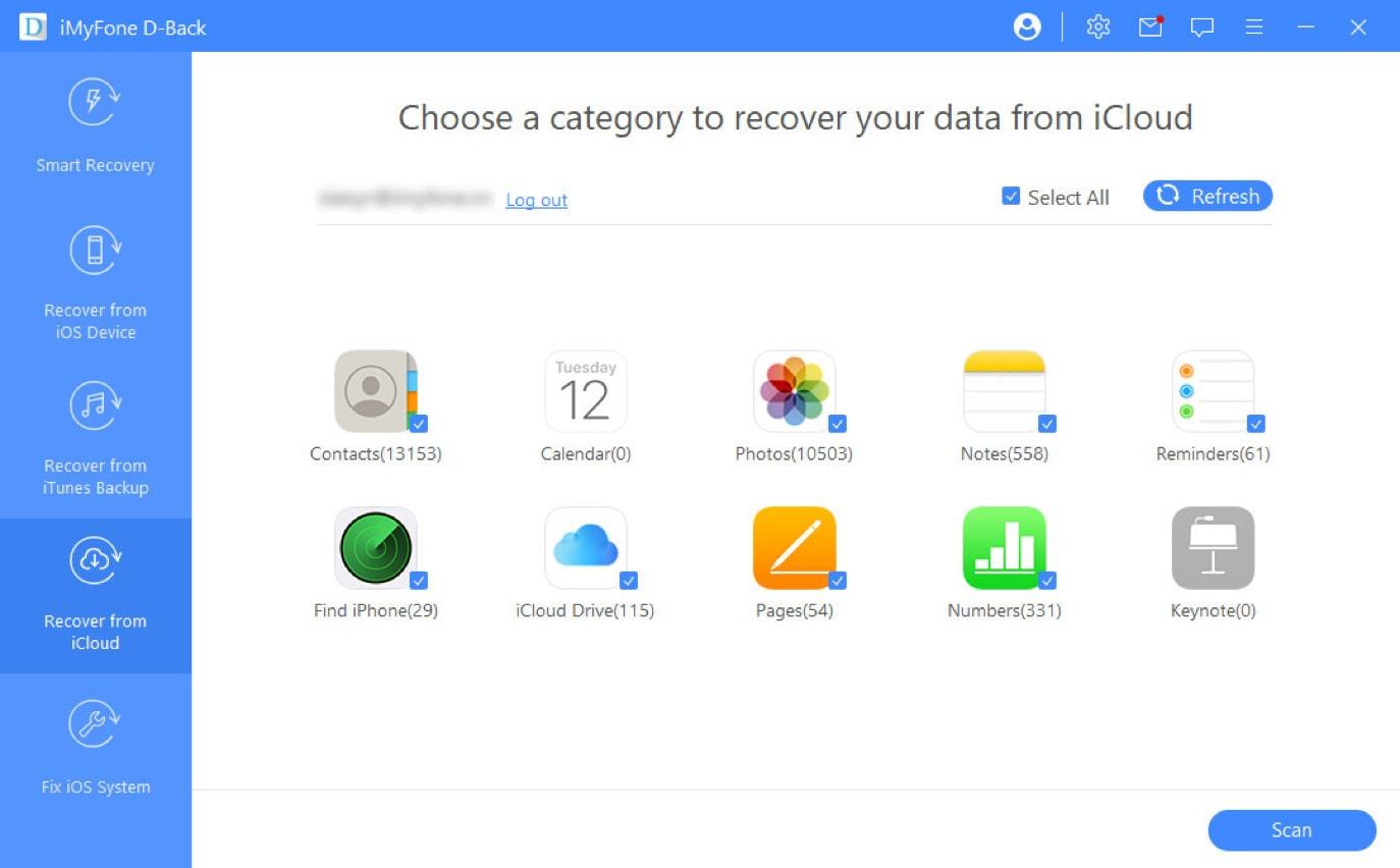 select icloud data