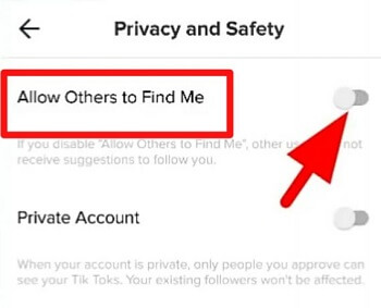 not allow other find my tiktok