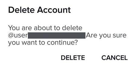 tiktok delete account confirmation