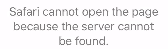 safari cannot open the page because the server cannot be found