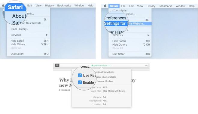 Safari website permissions