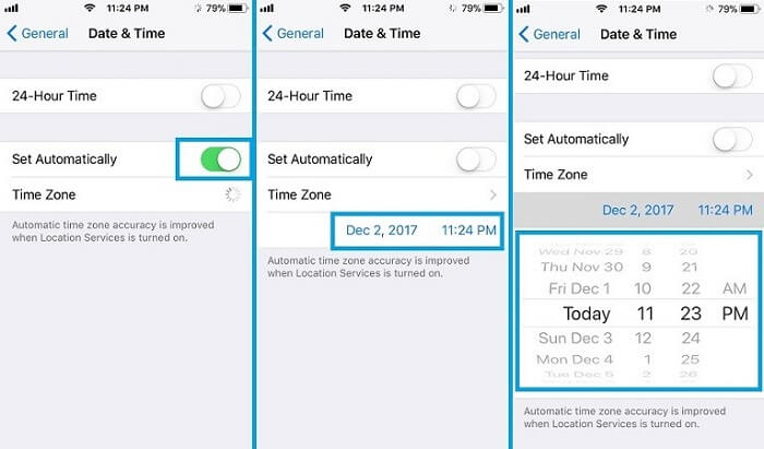 adjust the date and time on iphone