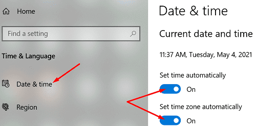 check date and time setting