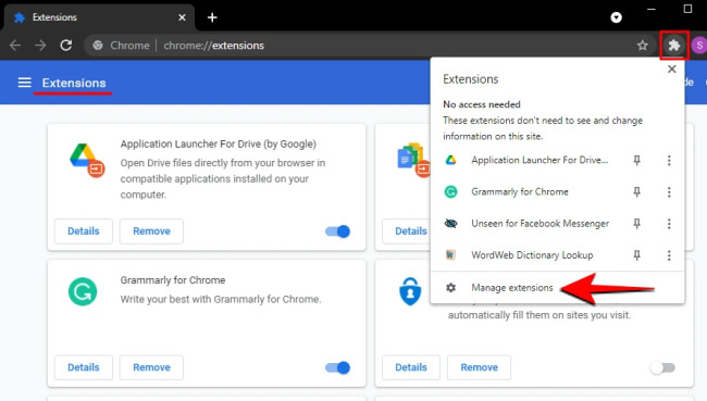 disable browser extensions