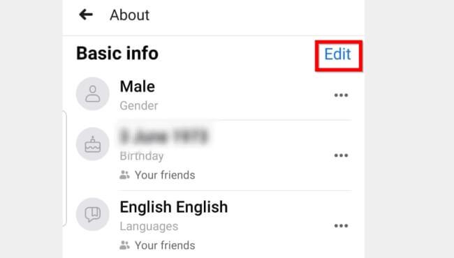 edit Facebook basic info