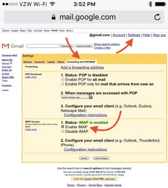 enabled IMAP for Gmail on iPhone