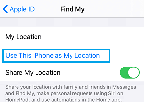 Enable Use This iPhone as My Location