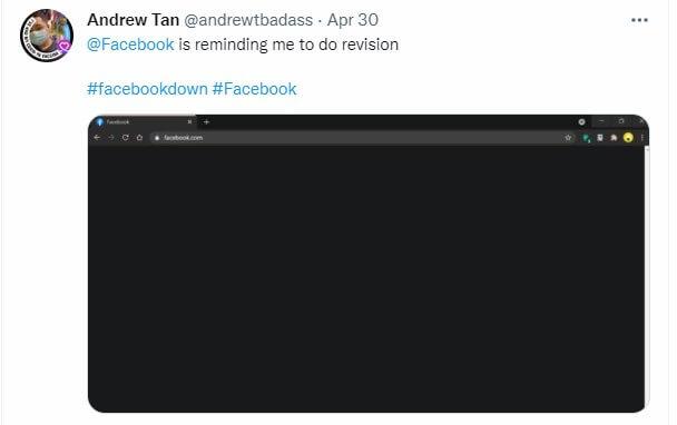 Facebook's user report black screen issue