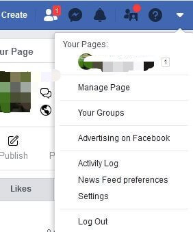 top-right corner of your Facebook profile