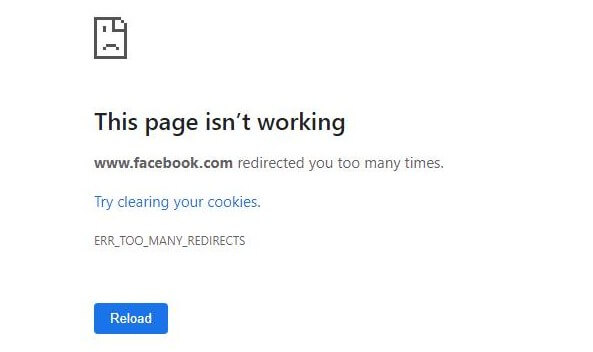 Facebook ERR_TOO_MANY_REDIRECTS
