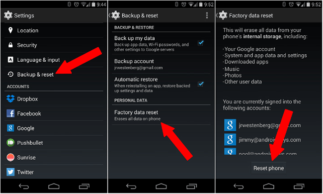 factory data reset on Android