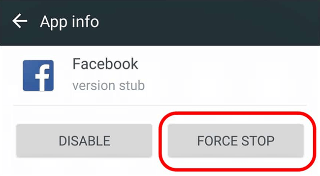 force stop Facebook on Android