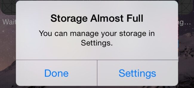 iPhone storage almost full