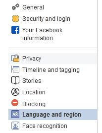 language and region settings of Facebook