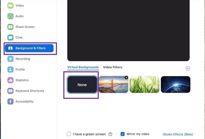 stop using custom zoom background