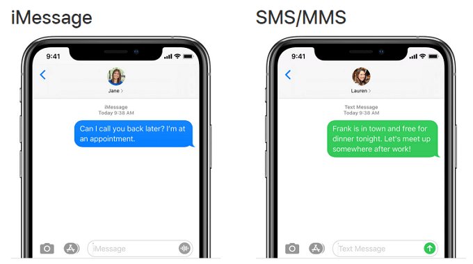 text messages and iMessage on iPhone