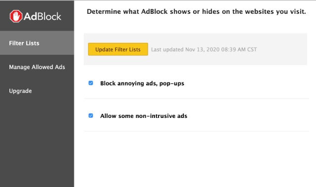update AdBlock filter list