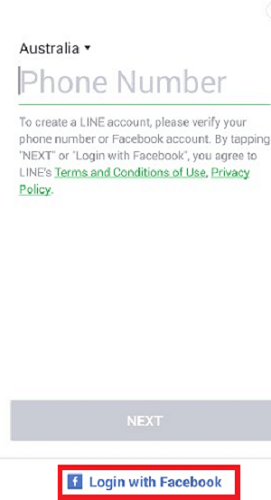 log in line with facebook account