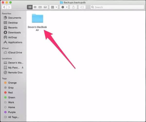 find mac backups in finder