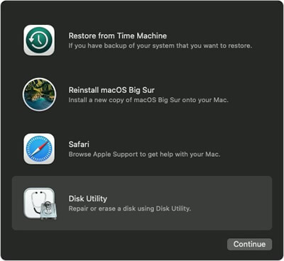 select disk utility from mac