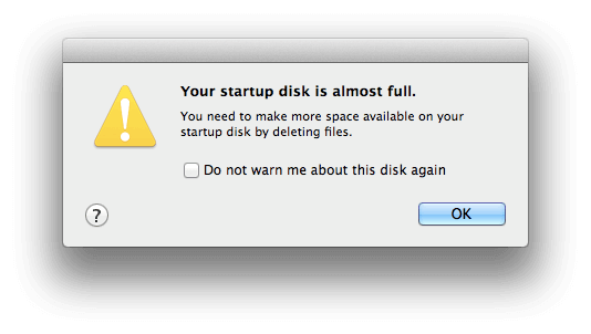 statup disk almost full