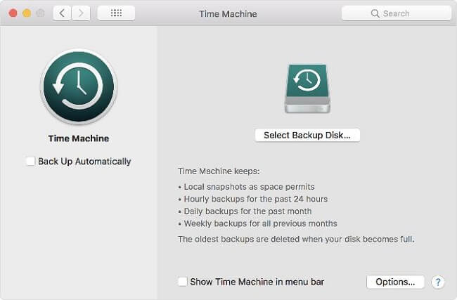 time machine backup options