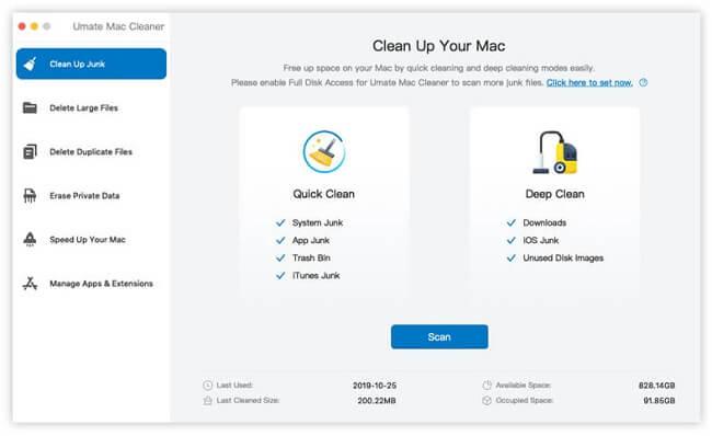 umate mac cleaner clean up junk
