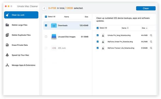 umate mac cleaner files list