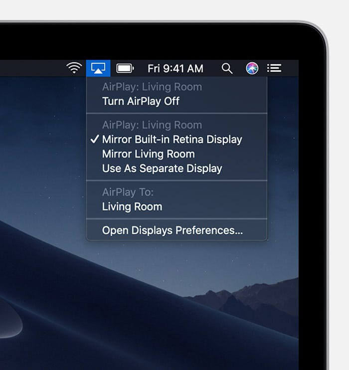 show mirroring options within the menu bar