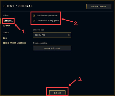 checkmark the options