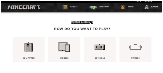minecraft to choose device to paly