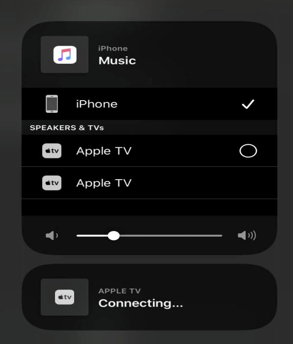 select an apple tv and connecting