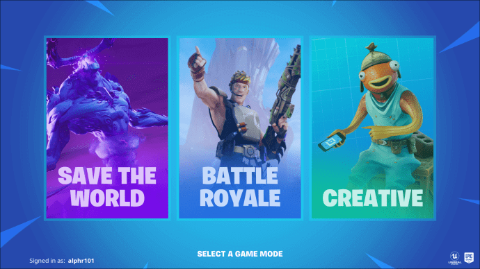 launched Fortnite and choose mode